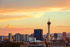 Sunset over Las Vegas, NV. Business dramatic las vegas skyline dynamic clouds nevada stock images