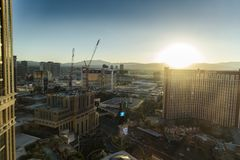 Sunset over Las Vegas from the 29th floor of the Palazzo. Las Vegas, in Nevada's Mojave Desert, is a resort city famed for its vibrant nightlife royalty free stock photo