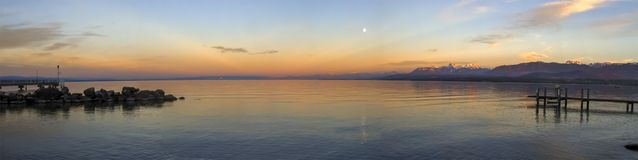Sunset over Leman or Geneva lake, Excenevex, France Stock Photography
