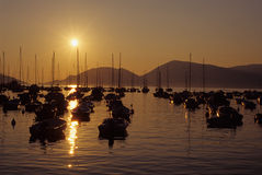 Sunset over Lerici harbor Royalty Free Stock Image