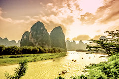 Sunset over Li river by Yangshuo in China Royalty Free Stock Images
