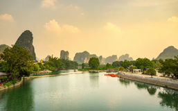 Sunset over Li river in Yangshuo city area Stock Images