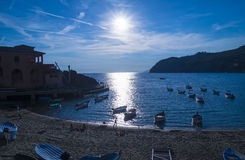Sunset over  Ligurian beach at Levanto, La Spezia,Italy Royalty Free Stock Images