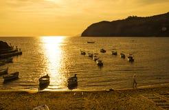 Sunset over  Ligurian beach at Levanto, La Spezia,Italy Stock Photography