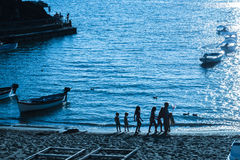Sunset over  Ligurian beach at Levanto, La Spezia,Italy Royalty Free Stock Image