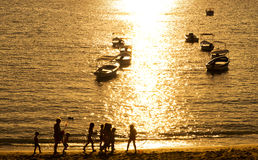 Sunset over  Ligurian beach at Levanto, La Spezia,Italy Royalty Free Stock Photos