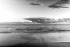 Sunset over the Ligurian Sea. Black and white photo Stock Photography