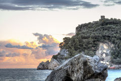 Sunset over the Ligurian Sea. Color image royalty free stock photos