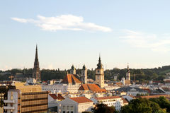 Sunset over Linz. View over the city of Linz, Austria, Europe Stock Photo