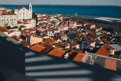 Sunset Over Lisbon Old Town Alfama - Portugal. Lisbon Golden Hour Skyline. Balcony View on Alfama Old Town of Lisbon and Tagus. River. Historical and Modern stock photography