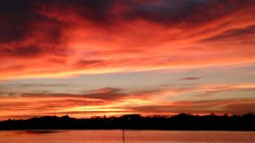 Sunset over Little Bayou on Tampa bay in St Petersburg Florida Royalty Free Stock Photography