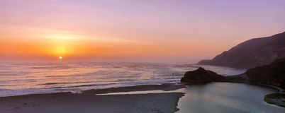 Sunset over Little Sur River mouth. View of View of Little Sur River outlet in Big Sur, Monterey County, California, USA Royalty Free Stock Photography