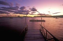 Sunset over Lobster village on Mount Desert Island in ME stock images