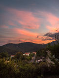 Sunset over Lodeve Herault France royalty free stock photos
