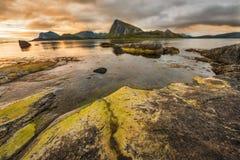 Sunset over Lofoten stock image