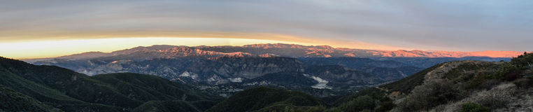 Sunset over Los Padres. Final light hitting the tops of the mountains behind Santa Barbara Stock Images