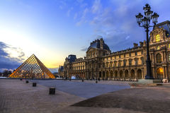 Sunset over the Louvre Museum Paris Royalty Free Stock Photography