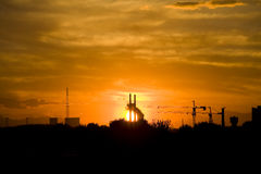 Sunset over Lower factory Royalty Free Stock Photography