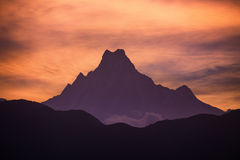 Sunset  over Machapuchare or fish tail. Machapuchare or fish tail peak during sunset, Himalayan Mountains, Nepal Royalty Free Stock Photography