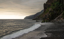 Sunset over Madeira coastline royalty free stock images