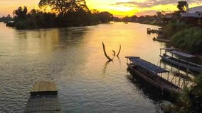 Sunset over a major tributary of the Amazon - the Rio Napo in Ecuador - Timelapse stock video