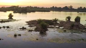 Sunset over a major tributary of the Amazon - the Rio Napo in Ecuador - Timelapse stock footage