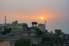 Sunset over Mandawa town Stock Photos