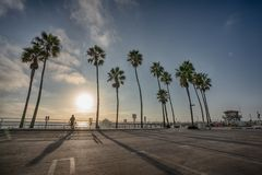 Sunset over Manhattan Beach pier in California. United States royalty free stock photos