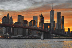 Sunset over a Manhattan - HDR image. Royalty Free Stock Photo