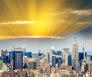Sunset over Manhattan - New York City aerial view Royalty Free Stock Photography