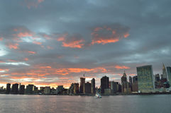 Sunset over a Manhattan. Royalty Free Stock Photo