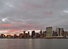 Sunset over a Manhattan. Royalty Free Stock Photos