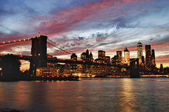 Sunset over a Manhattan. Royalty Free Stock Images