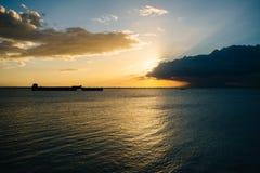 Sunset over Manila Bay, seen from Pasay, Metro Manila, The Phili Royalty Free Stock Photography