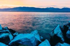 Sunset over marble rocks Stock Photo