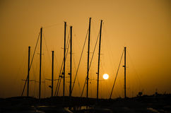 Sunset over marina Stock Photo
