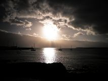 Sunset over marina in Playa Blanca, Lanzarote Island. royalty free stock photo