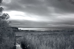 Sunset over marsh.IR photography. Stock Photo