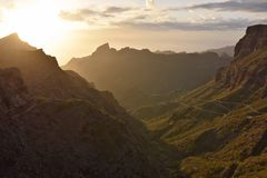 Sunset over Masca valley Tenerife Canary Islands stock photography