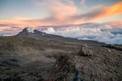 Sunset over Mawenzi Peak, Mount Kilimanjaro, Tanzania, Africa Stock Photo
