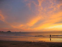 Sunset over Mazatlan Beach Royalty Free Stock Photo