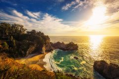 Sunset over McWay Falls on Pacific Coast Highway in California Stock Photography