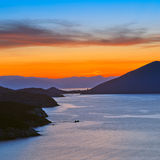 Sunset over mediterranean sea. Greece Royalty Free Stock Images