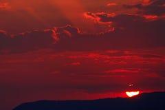 Sunset over the Mediterranean Sea. Stock Photo