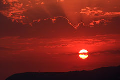 Sunset over the Mediterranean Sea. Royalty Free Stock Image