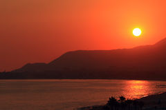 Sunset over the Mediterranean Sea. Royalty Free Stock Photography