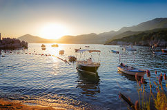 Sunset over mediterranean sea Stock Image