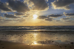 Sunset over the Mediterranean Sea, Israel Royalty Free Stock Photos