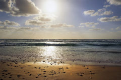 Sunset over the Mediterranean Sea, Israel Stock Photography