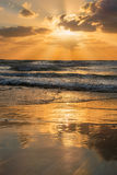 Sunset over the Mediterranean Sea, Israel Royalty Free Stock Image